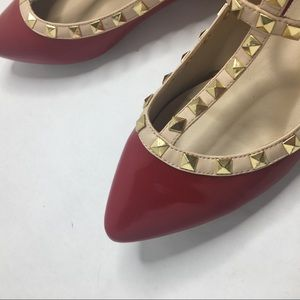 Rock stud T Strap Red Pointed Toe Flats